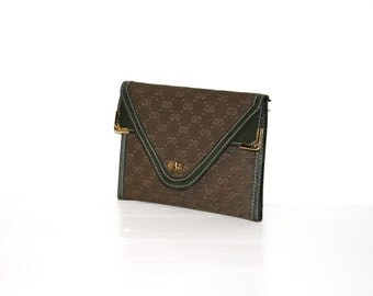 GUCCI Vintage Wallet Bi-Fold Green Monogram Canvas Leather Envelope Purse - AUTHENTIC -