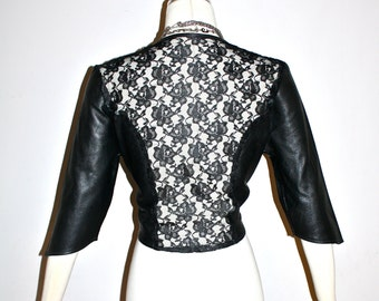 Vintage LEATHER LACE Back Jacket Cropped Backless Bolero