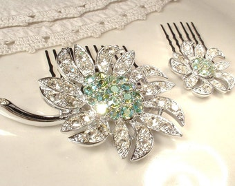 PAIR Mint Green & Clear Rhinestone Bridal Hair Combs, Silver Vintage Hairpiece OOAK HeadPiece Flower Girl Jewelry Gift Wedding Accessory