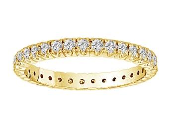 Womens Eternity Diamond Ring, Wedding Band, Anniversary Ring, Stackable Pave Band, 14k Yellow Gold  0.70 Carat handmade