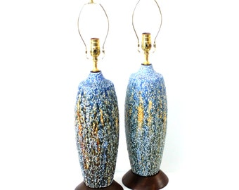 Mid-Century Modern Pottery Lamp Blue Lava Glaze with Walnut Base