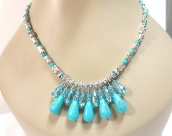 Turquoise Necklace, Crystal Necklace, Pear Shaped Blue Crystal, .925 Sterling, Teardrop Beads, Etched Silver Beading, Silver Aztec Beads