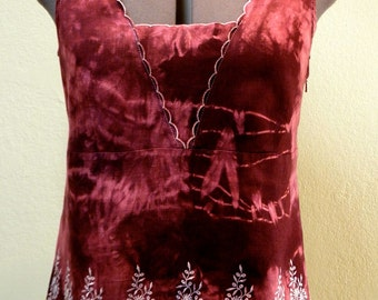 Sleeveless Blouse - Vintage Linen Shibori Hand-dyed in Wine Reds with Eyelet Embroidery One of a Kind Art Clothing Boho Cottage Chic Resort