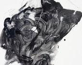 """Large Abstract Male Figure Painting on Canvas - His Violent Music - expressive, black, white, grey, 30 x 48"""""""