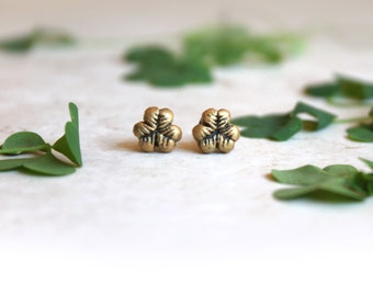 Gold Clover Earrings, Gold Shamrock Earrings, Tiny Post Earrings, Lucky Clover Jewelry, Leaf Stud Earrings, St Patricks Day Shamrock Jewelry
