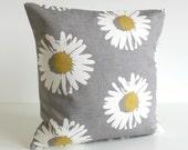 Pillow Cover, 20 Inch Pillow Sham, 20x20 Cushion Cover - Daisies Mustard