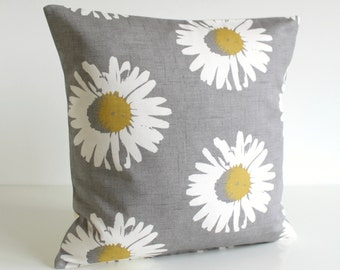 16 inch Pillow Cover, 16 Inch Pillow Sham, 16x16 Cushion Cover, flower pillow - Daisies Mustard