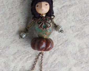 Mika-Petite Art Doll Pendant Necklace