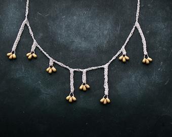 asymmetric Gold Seeds 925k silver crochet necklace