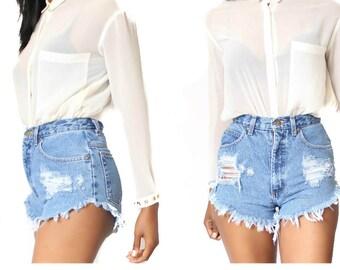 All Sizes Custom Made Destroyed  Distress   High Waist Shorts
