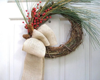 Christmas Wreath, Winter Wreath, Christmas Decoration, Rustic Wreath, Burlap Bow, Holiday Decor, Pine Door Wreath, Pinecones Wreath