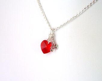 Red Heart Necklace, July Birthstone Necklace, Girlfriend Necklace Heart, Initial Necklace for Girlfriend, Heart Necklace Sterling Silver