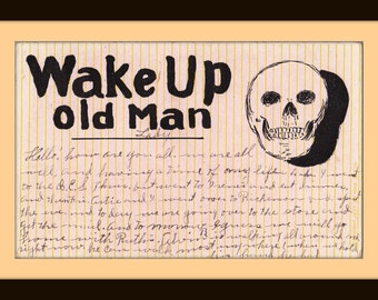 Wake Up Old Man- 1900s Antique Postcard- Grinning Skull- Strange Edwardian Greeting- Max Stein- Old Art Card- Paper Ephemera