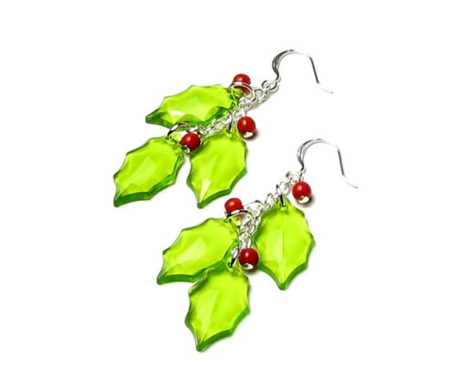 HOLLY BERRY Earrings, Christmas Earrings, Green Holly, Red Berry Earrings, Holly, Accessories, Silver Earrings, Holly Jewelry, Holiday, Gift