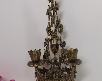 """Sale Delightful 10.5""""brass Wall hanging standing candle holder,ornate,home decor.WAINLER.Israel.Kodesh,sabbat.Double candle holder.Rare Gift"""