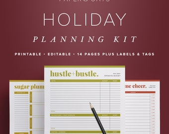 Holiday Planning Kit, Christmas Planner, Christmas Gift Tags & Labels, To Do List, Bunting, Decor Organizer   //  Household PDF Printables