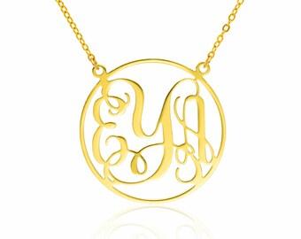 Monogram Necklace 2 inch- 14k Gold filled Personalized Necklace Monogrammed Necklace bridesmaids gift