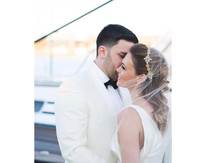 Gold Wedding Veil, Bridal Veil, Juliet Cap Veil, Art Deco Veil, Great Gatsby Wedding Veil, Gold Crystal Veil, Rhinestones, 1920's Veil