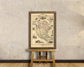 North America map - Old map of America - Fine print