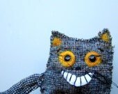 Cat brooch,  crazy kitty pin, reclaimed gray wool, upcycled accessory, whimsical style, animal jewelry, unique gift, crazy cat lady