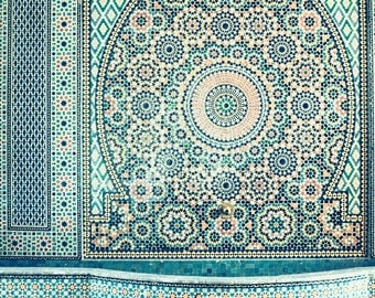 Moroccan Tiles Photo, Blue, Moorish, Morocco Photography, Travel Print, Pale Blue Wall Art, Geometric, Fountain, Ethnic, Bohemian Home Decor