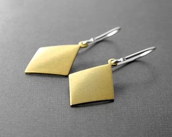 Brass and Sterling Silver Earrings Diamond Geometric Dangle Artisan Jewelry