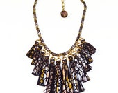 Snakeskin Print Leather Tassel Statement Necklace/ Metallic Fringe Necklace/ Silver Gold Necklace/ Edgy Jewelry/ Animal Print Necklace