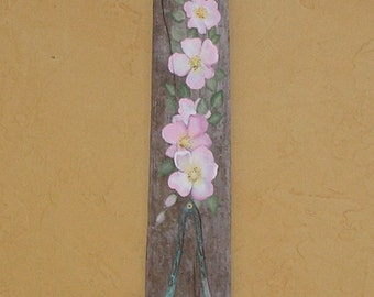 Beach Cottage Driftwood Candle Sconce Hand Painted Pink Wild Roses Reclaimed Wood