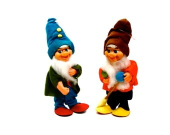 Christmas Gnomes Tall 10 Inch Felt with Rubber Face and Beard - Two Available - You Pick Color - Holiday Decorations Ornaments