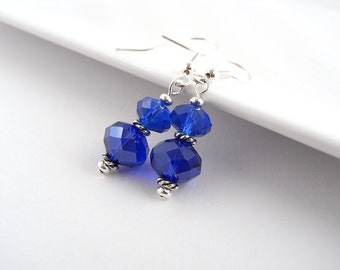 Cobalt Blue Earrings, Royal Blue, small drop, blue glass earrings, silver, gift, UK shop, E0010