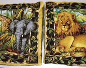 Animal Pillow Shams 16x16, African jungle pillow covers, animal print craft fabric, vintage bed decor pillow cases, bag material