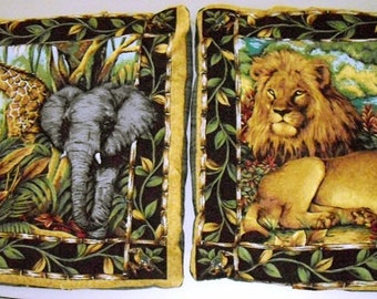 Vintage Animal Pillow Shams, African Style Decor Pillow covers, Wild Animal Pillow Covers, 16x16 Couch Pillow covers