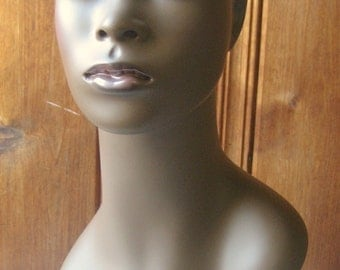 Pierced Ears Mannequin Head - Dark Skin, Real Eyelashes, Realistic Face - Female Head Form Bust  - African Black Mannequin Display Piece