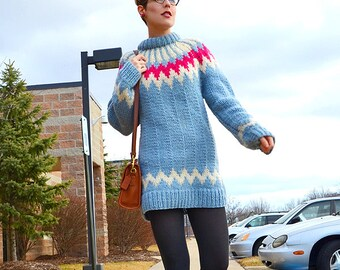 RESERVED - Vintage Thick Wool Fair Isle Ski Sweater / Powder Blue / Heavy and Warm Wool / Long Pullover