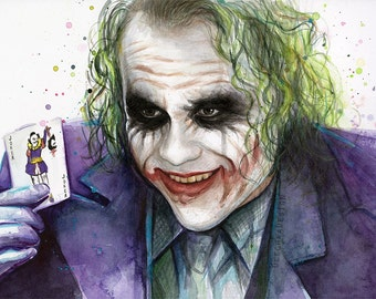 The Joker Painting Art Print Dark Knight Art Print of Watercolor Painting Joker Artwork Joker Wall Art Why So Serious Heath Ledger Print