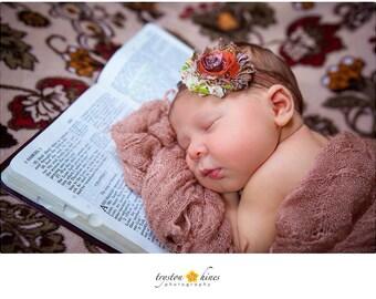 Baby Headband, Fall Headband, Orange and Brown Shabby Headband, Photography