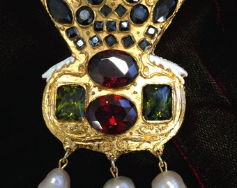 Replica Tudor Style Brooch Based on Catherine Parr's Portrait - Featuring Synthetic Rubies, Emeralds, Black Cubic Zirconia and Pearls