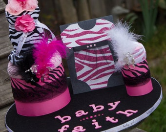 Baby Shower Centerpiece, Burp Cloths and Onsie Cake, Diaper Cake Alternative, Hot Pink, White, and Black Zebra Print Baby Shower Centerpiece