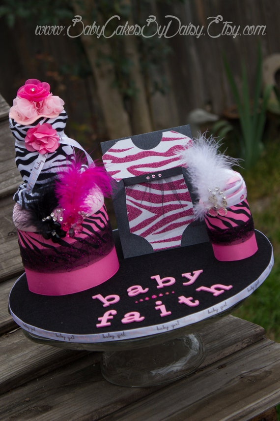 Pink and Black Zebra Baby Shower Centerpiece | Burp Cloths | Bodysuit | Onesie| Diaper Cake Alternative | Hot Pink Zebra | Baby Girl