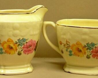 Crooksville Creamer & Sugar Bowl Set, Vintage Yellow Pink Floral # 1238 Pattern, Pantry Bak-In
