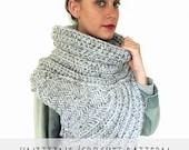 PATTERN for Chunky Knit Crochet Asymmetric Cowl Vest Shawl Scarf One Armed // Huntress Vest PATTERN