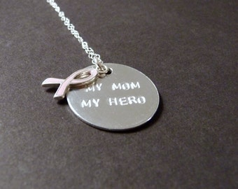 My mom my hero necklace, breast cancer jewelry, friend, sister or wife gift