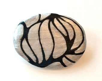Handmade Brooch Black & Silver Painted Paper Clay Organic Pattern