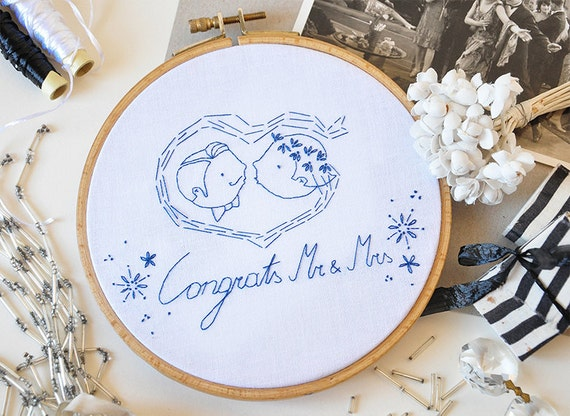 Mr And Mrs Gifts Wedding: CONGRATS MR And MRS Wedding Gift Embroidery By Hallodribums