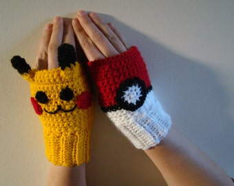 MADE TO ORDER Pokeball Pikachu  Inspired Crochet Fingerless mittens gloves Pokemon