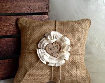 Rustic Burlap Ring Bearer Pillow Rustic Ring Bearer Pillow Wedding Pillow Burlap Ring Bearer Personalized Ring Pillow