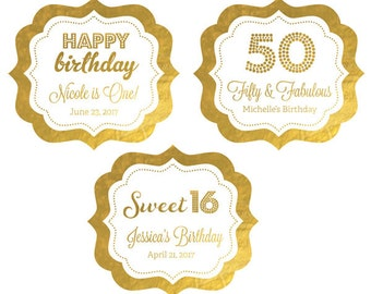 Personalized Birthday Stickers - 50th Birthday Stickers - Adult Birthday Favor Stickers Golden Birthday Labels (EB3020FY) set of 24| labels
