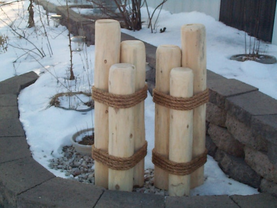 2 nautical wooden pilings lawn or pier dock ornaments outdoor for Wooden garden ornaments and accessories