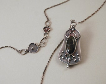 Pyrite Agate.  Sterling silver necklace with Pyrite Agate cabochon. Handmade.  One of a kind.  Extra special clasp.  Bliss.
