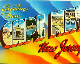 Vintage New Jersey Postcard  Greetings from Cape May N J 1968